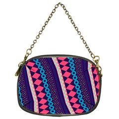 Purple And Pink Retro Geometric Pattern Chain Purses (One Side)