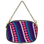 Purple And Pink Retro Geometric Pattern Chain Purses (One Side)  Front