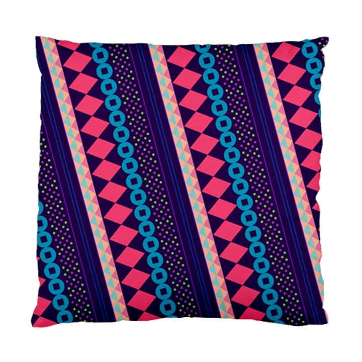Purple And Pink Retro Geometric Pattern Standard Cushion Case (One Side)