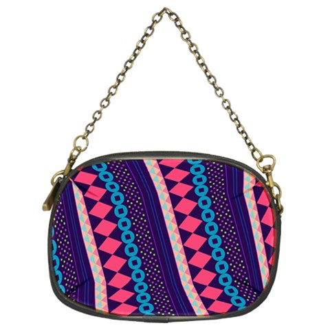Purple And Pink Retro Geometric Pattern Chain Purses (Two Sides)