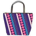 Purple And Pink Retro Geometric Pattern Bucket Bags Front