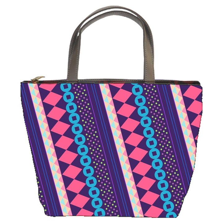 Purple And Pink Retro Geometric Pattern Bucket Bags