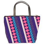 Purple And Pink Retro Geometric Pattern Bucket Bags Back