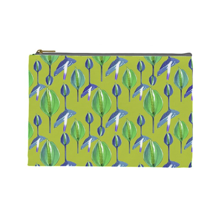 Tropical Floral Pattern Cosmetic Bag (Large)