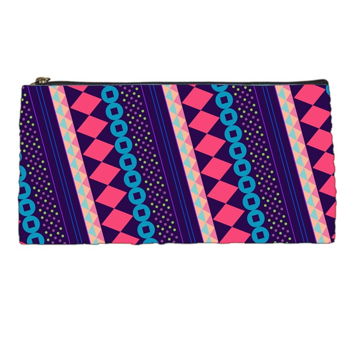 Purple And Pink Retro Geometric Pattern Pencil Cases