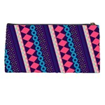 Purple And Pink Retro Geometric Pattern Pencil Cases Back
