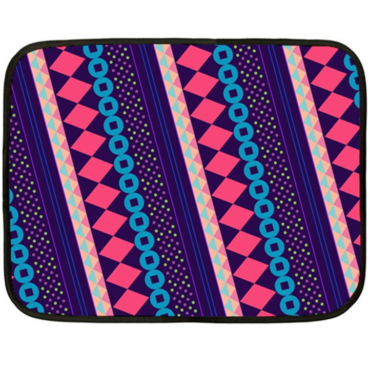Purple And Pink Retro Geometric Pattern Double Sided Fleece Blanket (Mini)