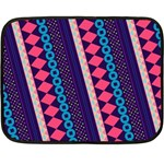 Purple And Pink Retro Geometric Pattern Double Sided Fleece Blanket (Mini)  35 x27 Blanket Back