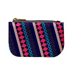 Purple And Pink Retro Geometric Pattern Mini Coin Purses