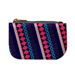 Purple And Pink Retro Geometric Pattern Mini Coin Purses Front