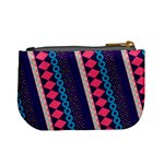 Purple And Pink Retro Geometric Pattern Mini Coin Purses Back