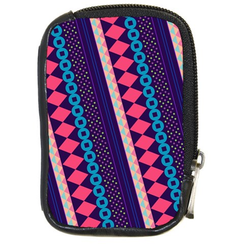 Purple And Pink Retro Geometric Pattern Compact Camera Cases