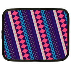 Purple And Pink Retro Geometric Pattern Netbook Case (XL)