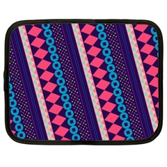 Purple And Pink Retro Geometric Pattern Netbook Case (xxl)