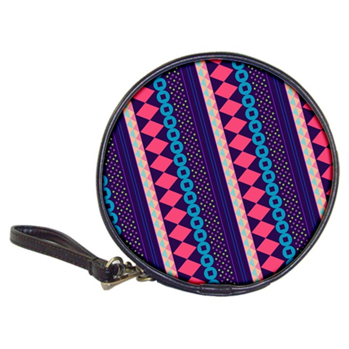 Purple And Pink Retro Geometric Pattern Classic 20-CD Wallets