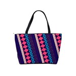 Purple And Pink Retro Geometric Pattern Shoulder Handbags Back