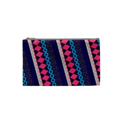Purple And Pink Retro Geometric Pattern Cosmetic Bag (small)