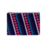 Purple And Pink Retro Geometric Pattern Cosmetic Bag (Medium)  Front