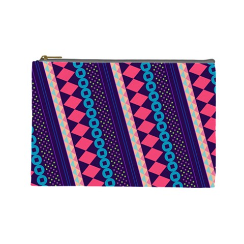 Purple And Pink Retro Geometric Pattern Cosmetic Bag (Large)