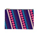 Purple And Pink Retro Geometric Pattern Cosmetic Bag (Large)  Front