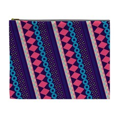 Purple And Pink Retro Geometric Pattern Cosmetic Bag (xl)