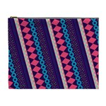 Purple And Pink Retro Geometric Pattern Cosmetic Bag (XL) Front