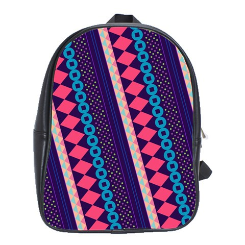 Purple And Pink Retro Geometric Pattern School Bags(Large)
