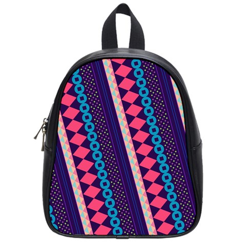 Purple And Pink Retro Geometric Pattern School Bags (Small)