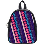 Purple And Pink Retro Geometric Pattern School Bags (Small)  Front