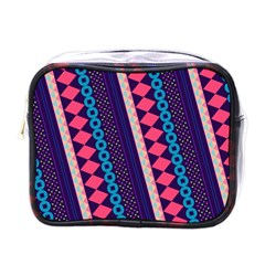 Purple And Pink Retro Geometric Pattern Mini Toiletries Bags