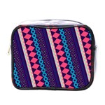 Purple And Pink Retro Geometric Pattern Mini Toiletries Bags Front