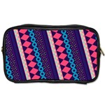 Purple And Pink Retro Geometric Pattern Toiletries Bags Front
