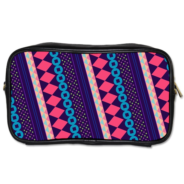 Purple And Pink Retro Geometric Pattern Toiletries Bags