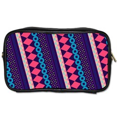Purple And Pink Retro Geometric Pattern Toiletries Bags 2-Side