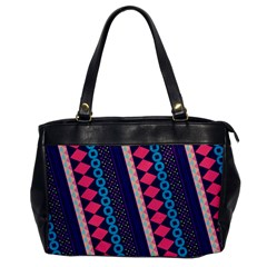 Purple And Pink Retro Geometric Pattern Office Handbags