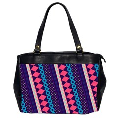 Purple And Pink Retro Geometric Pattern Office Handbags (2 Sides)