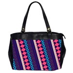 Purple And Pink Retro Geometric Pattern Office Handbags (2 Sides)  Front