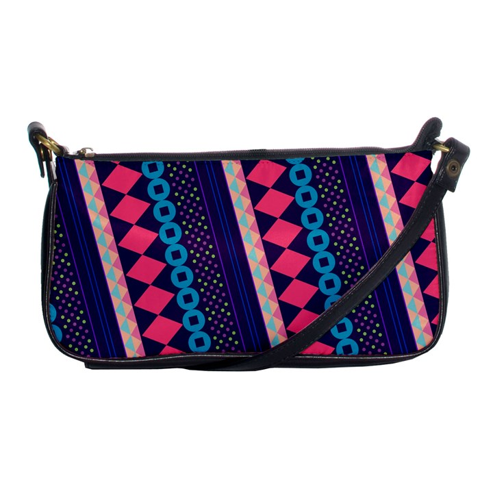 Purple And Pink Retro Geometric Pattern Shoulder Clutch Bags