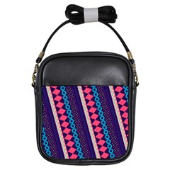 Purple And Pink Retro Geometric Pattern Girls Sling Bags