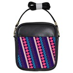 Purple And Pink Retro Geometric Pattern Girls Sling Bags Front