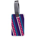 Purple And Pink Retro Geometric Pattern Luggage Tags (One Side)  Front
