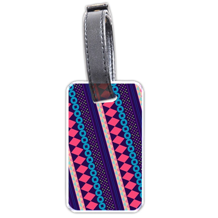 Purple And Pink Retro Geometric Pattern Luggage Tags (Two Sides)