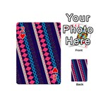 Purple And Pink Retro Geometric Pattern Playing Cards 54 (Mini)  Front - Heart2