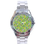 Tropical Floral Pattern Stainless Steel Analogue Watch Front