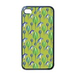 Tropical Floral Pattern Apple iPhone 4 Case (Black) Front