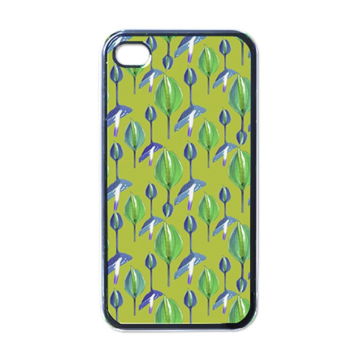 Tropical Floral Pattern Apple iPhone 4 Case (Black)