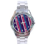 Purple And Pink Retro Geometric Pattern Stainless Steel Analogue Watch Front