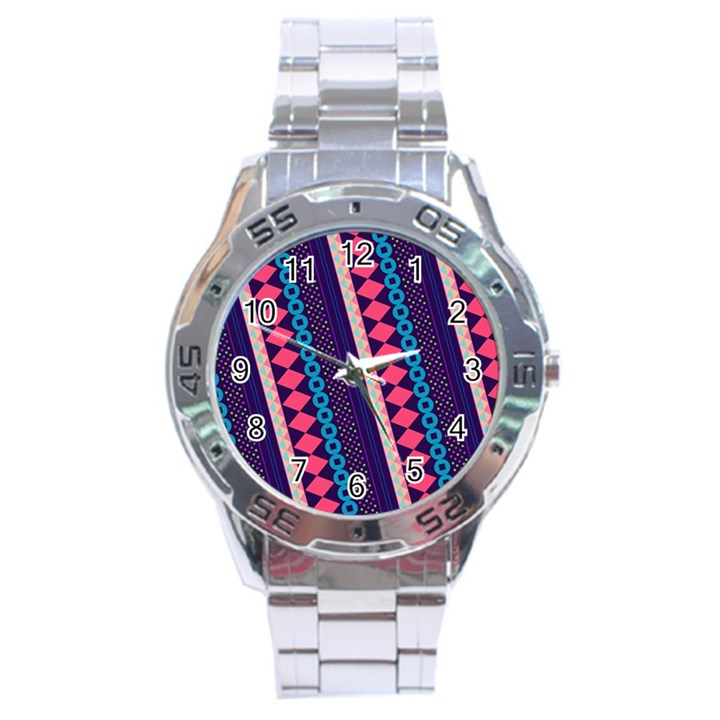 Purple And Pink Retro Geometric Pattern Stainless Steel Analogue Watch