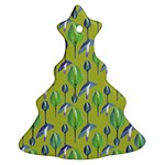 Tropical Floral Pattern Christmas Tree Ornament (2 Sides) Back