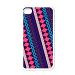 Purple And Pink Retro Geometric Pattern Apple iPhone 4 Case (White) Front